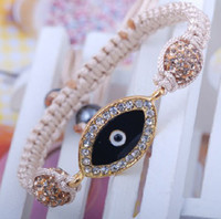 Wholesale DIY white crystal pave ball evil eye cord string bracelet hand knot fashion jewelry beads