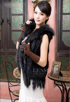Wholesale Low Low Low Black New Real Knit Rabbit Fur with hooded vest Gilet warm shawl