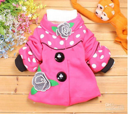 Wholesale Children s winter outwear baby long sleeved dotted Windproof coats girl s thick jacket with flower