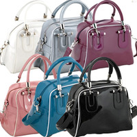 red patent leather handbag - High Quality Totes printed Handbag Patent Leather Bright Colors Women Shoulder Bag handbag Colors HOT