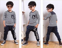 Wholesale korea styles baby boy s cool striped tee shirt pants suits children autumn clot