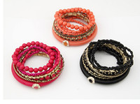 Wholesale Bohemian Retro Multi Strand Beads Resin Stone Bracelet Boho Bangle Color mix color