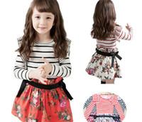 Red korea kids style - Janpan Korea Children Dress Clothing stripe shivering Girls Dress Autumn Girl Skirts Kids Dresses