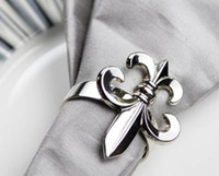 Wholesale Fleur de Lis napkin rings wedding gift napkin rings made by zinc alloy wholesales drop ship