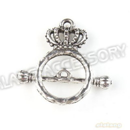 Wholesale Charms Circle Crown IQ Finding Silver Fashion Toggle Clasp Alloy Fit Jewellery DIY