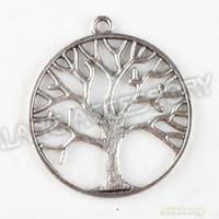Wholesale Fashion Alloy Circle Tree Antique Silver Plated Charms Pendant Fit Jewelry Making