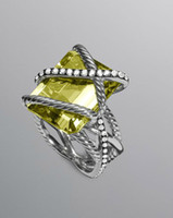 Cheap (R043) 20x15mm Cable Wrap Ring Lemon Citrine,925 silver ring,fashion jewelry,925 sterling silver ring