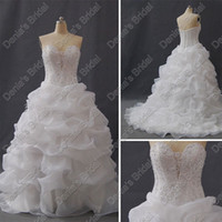 feather balls - Ball Gown Sweetheart Feather Wedding Dresses Beaded Corset Bodice Organza Actual Real Images