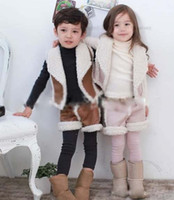 Wholesale Korean Kids Set Child Winter Clothes Outfits Boys and Girls Vest Suit Leather Waistcoat Short Pants