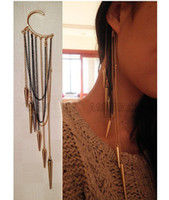Wholesale Extra long Tassels Cone Earrings Punk Style Without Pierced Ears Hang