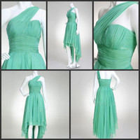 Wholesale New Style Cheap Jade Green Chiffon One Shoulder Column High low Ruche Prom Homecoming Dresses