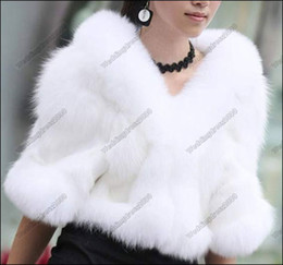 Wholesale White Warmer Faux Fur Winter Elbow Sleeveless Bridal Wedding Jacket Warp Shawl Party New IN Fashion