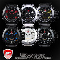 Wholesale Shark LED Quartz Digital Watches Sport Stainless Steel Men Luxury Date Day Wrist Watch SH027