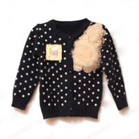 3T-4T 80-90-100-110 Girl Girl Polka Dots Cardigan Baby Toddlers Kids Coat Girls Flower Sweatercoat Kids Outerwear Girls Wear