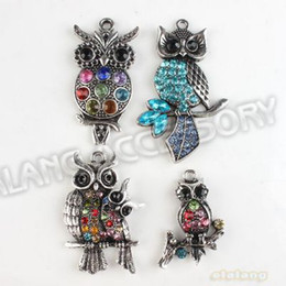 Wholesale New Mixed Rhinestone Owl Alloy Antique Silver Plated Charms Pendant Fit Jewelry DIY