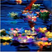 Wholesale Wishing Lamp lotus lamps Paper Flower Lotus Wish Lantern Water Floating Candle Light