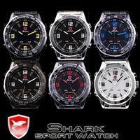 Wholesale Shark LED Quartz Digital Wristwatch Mens Luxury Stainless Steel Fashion Sport Wrist Watch SH005