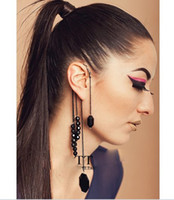 Wholesale Black Beaded Earhook no Pierced Earrings Long Tassel
