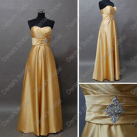 Wholesale Gold Satin Bridesmaid Dresses A Line Sweetheart Beaded Floor Length Gown Actual Real Images DB206