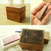 wood letters - New Hot Hand Writing Wooden Rubber Alphabet Letter Stamp Antique Wood Stamper Box Toy