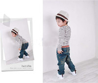 Wholesale Baby Childrens Toddlers Clothing Set Boys Outfit Boy Stripe T shirt Jeans Pants Boys Wear