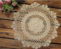 Wholesale cotton hand made Crochet cup mat Ecru Doily CMX28CM Round CD031
