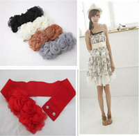 New Arrivals Fashion Chiffon Double Flower Rose Buckle Style...