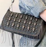 Cheap rivet skull chain tassel evening bag clutch party shoulder bag Handbag vintage Designer Lady Fashion