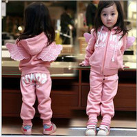 Wholesale 5pcs pinkAngel Wings Girl soprt suit set baby Tracksuit set kids hoodies suit set
