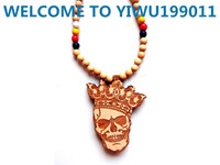 Wholesale WOOD NATURAL Goodwood nyc crown skull pendant necklace hip hop good wood skull mit krone necklace