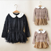 18-24 Months Black Winter Girls Full Lace Long-Sleeved Dresses Upscale Yarn + Lace Skirts