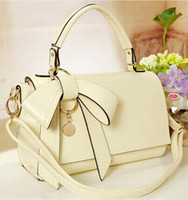 Wholesale New style Women s Handbags Bowknot One Shoulder Bags Candy Color Fashion Korea