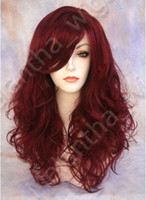 Wholesale Promotion Body wave Heat friendly Synthetic Swiss Long Burgundy amp Red Lace Front Wigs DHLFree ship