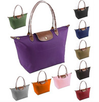 Wholesale Long Faux leather Handle Tote Shopping Bag Nylon WaterProof Colorful Handbag