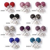 Wholesale Jewelry Stores Pairs Mixed AB Clay Balls Crystal Studs Earring Mixed Option SHEBmix1
