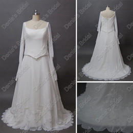 Wholesale 2012 Geek Long Sleeve Wedding Dresses Fake Two Piece Beads Lace Court Train Real Actual Images DB213
