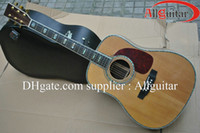Wholesale All Solid Guitar acoustic guitar Ebony Fretboard Bridge AAA natural solid spruce Top amp solid rosewood back All Abalone inlay Body