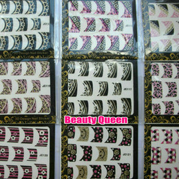 Wholesale 76 style Korea Design D Glitter Nail Art French Sticker Tips Decal Decoration HOT SALE