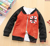 Wholesale New Korean version boy baby standing collar cardigan jacket long sleeved coat