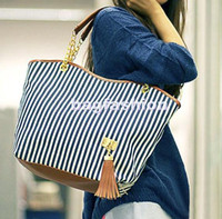 Wholesale Fashion New Women s Stripe Street bags Snap Candid Tote Shoulder Bag Handbags Canvas drop shipping