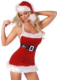 Wholesale Christmas Hat Adult - Sexy Santa Mini Christmas Lingerie Costume Women's Adult Halloween Party Christmas Dress with belt and hat 7120