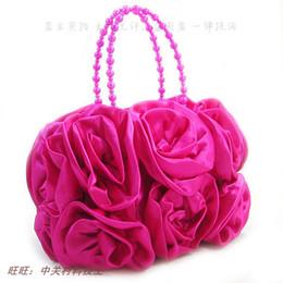 Wholesale New Rose Flower Satin Bridal Wedding Dress Handbag Bride Bridesmaids Package Evening Bag Women Lady