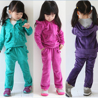 Wholesale Baby Clothes Winter Jogging suits Solid plain Hooded Coats Jackets amp jogging pant Girls Fashion Sets