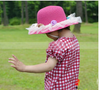 Wholesale girls hat with flower Straw hat color fashion baby hot sell A045 highquality