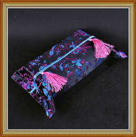 Wholesale Facial Tissue Box Holder Black High quality Silk Fabric Printed Tassel mix color Free