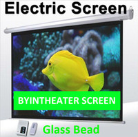 Wholesale Tubulr Motor Glass Bead Electric Projection Projector Screen inch Standard Remote Control