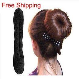 Wonderful Sponger Bun Maker Black Sponge Twist Hair Donut 2 Size With Paper Card Package Hairstyle Tools HA004