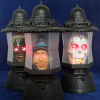 Wholesale Hot Hand Carry Halloween night light music ghost light Green Ghost Witch Pharaoh Skeleton