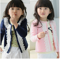 Wholesale Girls Cardigan Child Coat Children Cloth Pure Cotton Yarn Brought Cardigan Kids Cloth