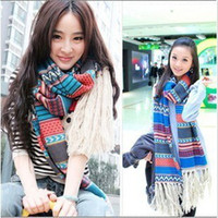 Wholesale Best selling American Bohemia autumn amp winter scarves long national wind woman shawl wool knit scarf